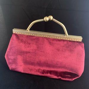 Red wine velvet ball closure clutch purse